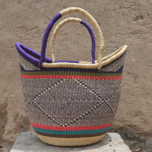 Multicoloured Large Ushopper Bolgatanga Basket