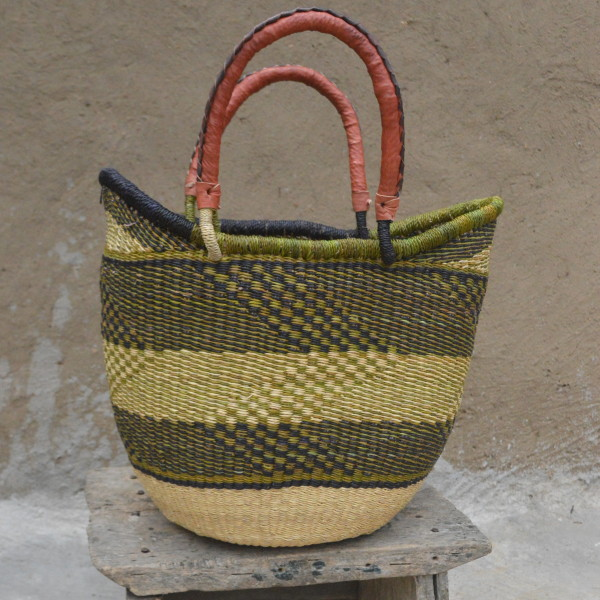 Green and Blue Large Ushopper Bolgatanga Basket
