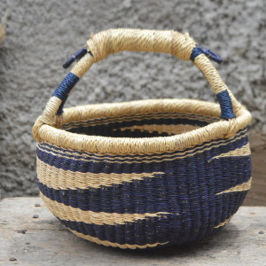Small Blue and Yellow Round Bolgatanga Basket