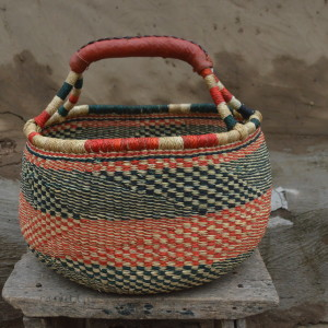 Red and Blue Large Bolgatanga Basket