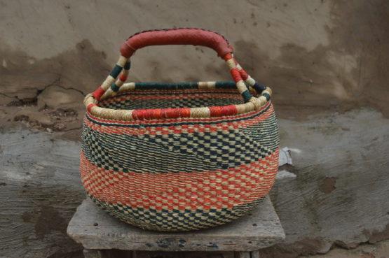 Red and Blue Large Bolgatanga Basket